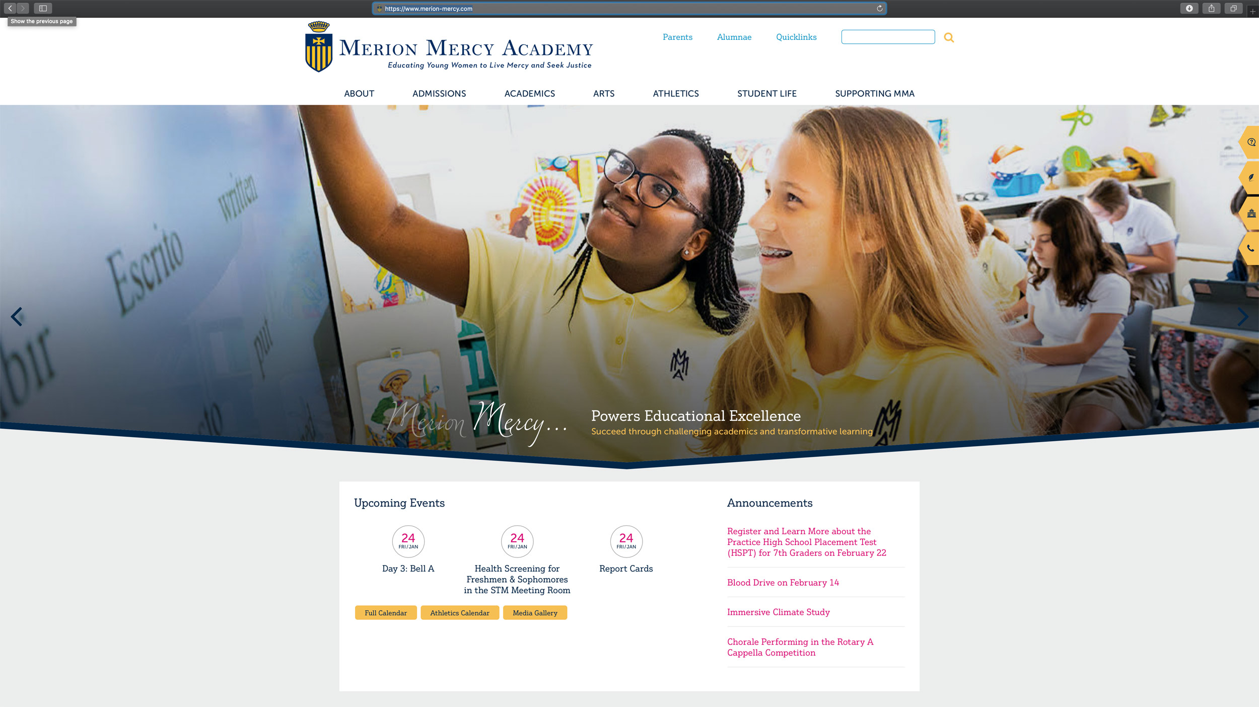 Merion Mercy Academy Website, Michael Branscom Photography.