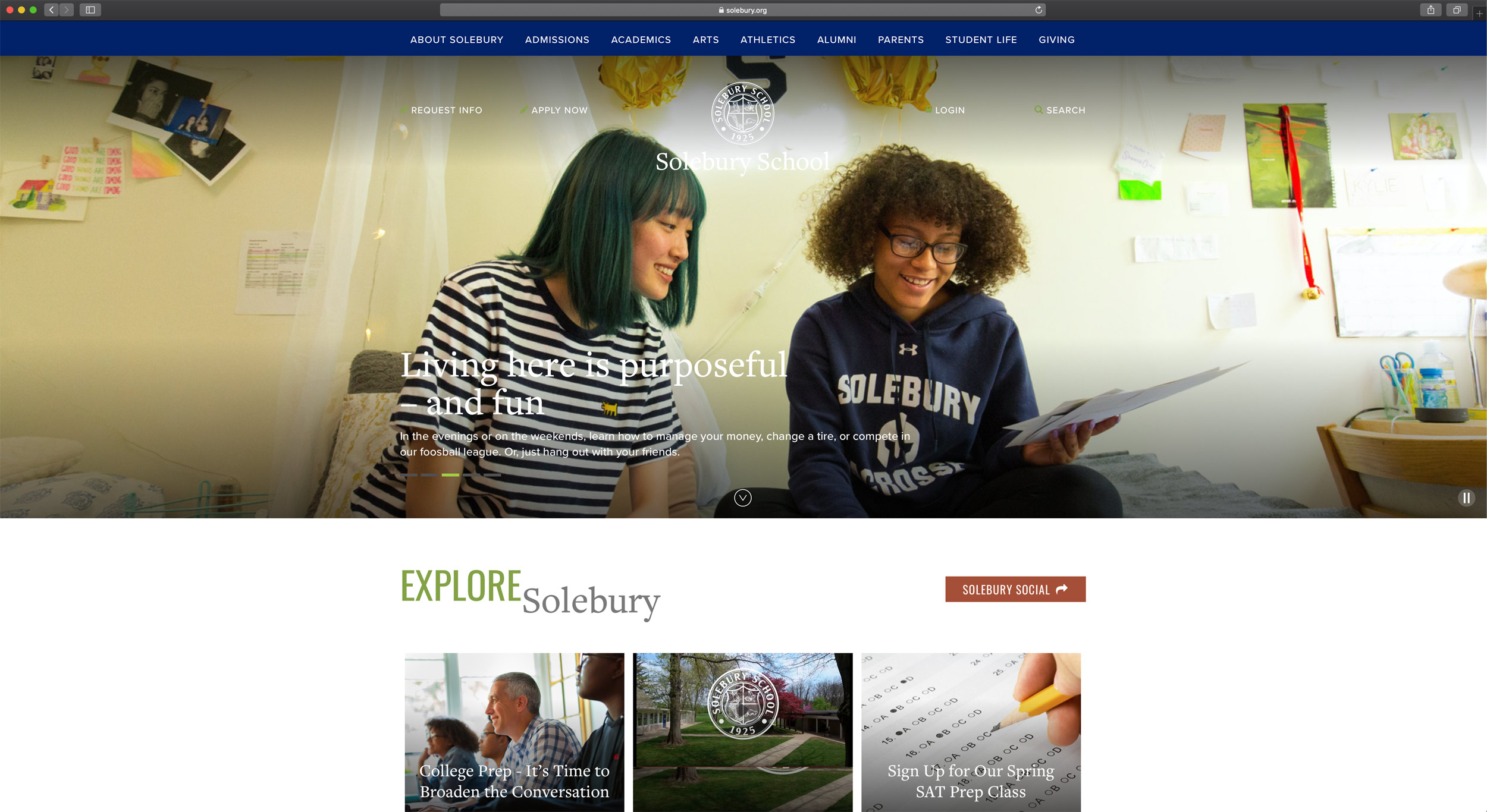 Solebury School Website, Michael Branscom Photography.